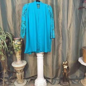 Vintage teal jacket, pants and blouse